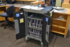 Our iPad cart and 30 iPads!
